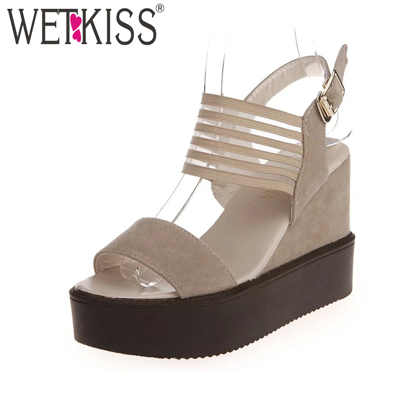 2017 New Style Wedges Sandals Women High Heels Summer Shoes Gladiator Buckle Platform Sandals Sexy Open toe Dress Sandalias phyanic 2017 gladiator sandals gold silver shoes woman summer platform wedges glitters creepers casual women shoes phy3323