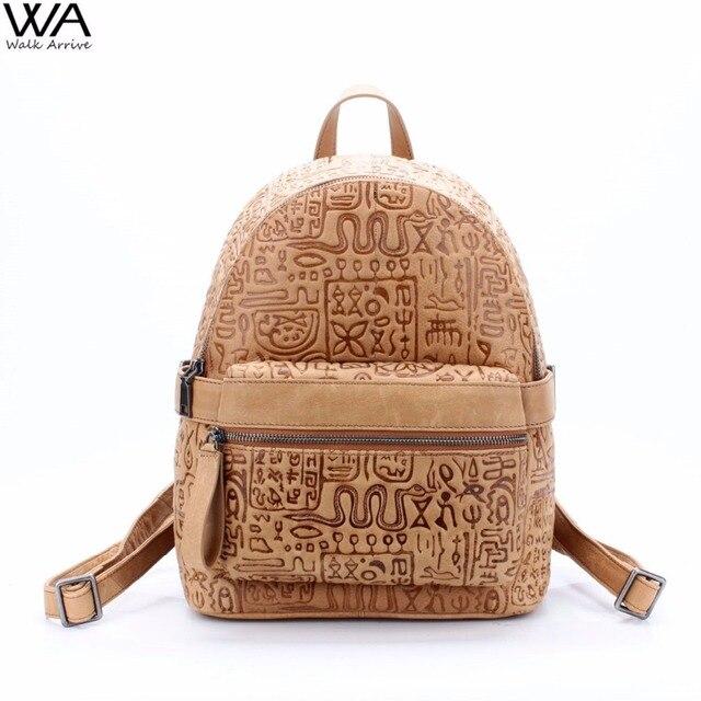 Ходить поступление Пояса из натуральной кожи Для женщин рюкзак Oracle телячья кожа с тиснением Винтаж школы моды сумка специальные Дизайн