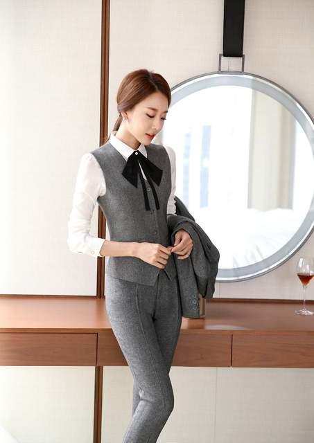 e88ba053bd4c placeholder Novelty Grey Slim Fashion Professional Female Pantsuits  Business Women Work Wear Vest + Pants Ladies Blazers