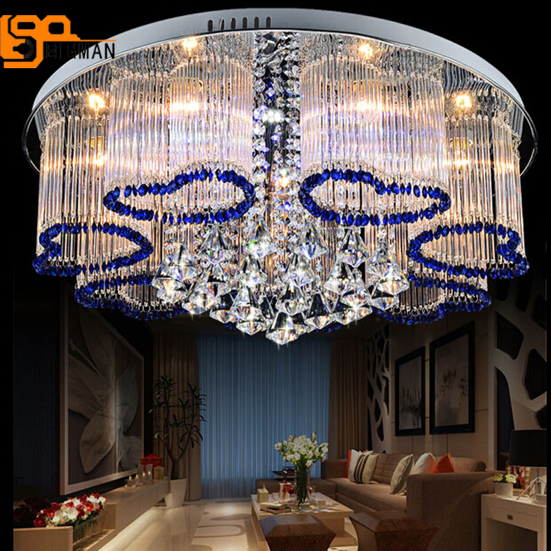 Free shipping new modern blue chandelier crystal lamp ceiling fixture home lighting free shipping high quality modern crystal ceiling lamp golden crystal ceiling lighting sy4062 4l d500mm ac 100