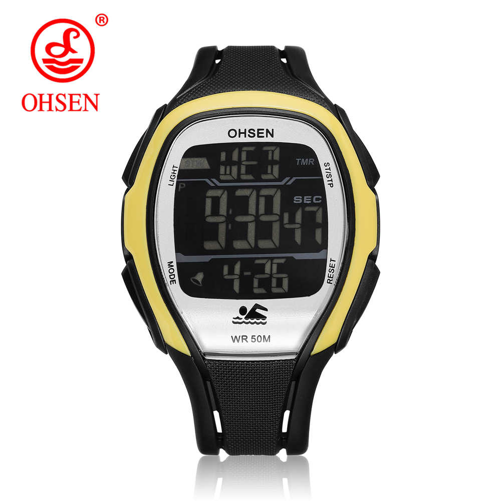 OHSEN Digital LED Men Fashion Sport Wristwatch Stopwatch Silicone Strap Yellow Outdoor Waterproof Alarm Watch relogio masculino