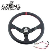 LZONE-Кожа SP Рулевого Колеса Автомобиля Спортивный Руль Deep Авто Руль 350 мм Кожаный Руль JR-SW31LR