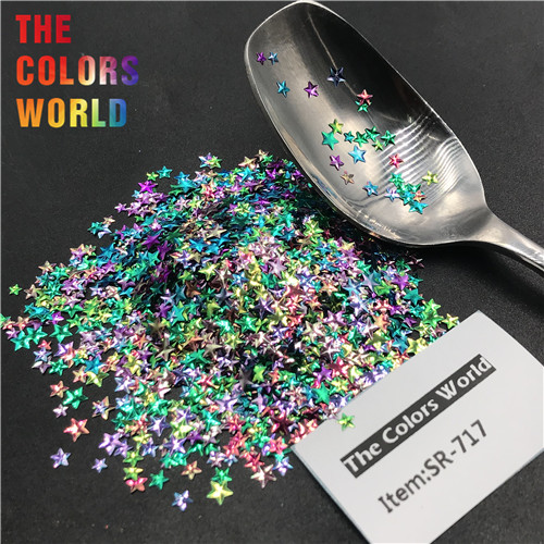 TCT-346 Chameleon 3D Star Stereoscopic Nail Glitter Nail Art Decoration Face Paint Tattoo Tumblers Crafts Festival Accessories - Цвет: SR-717   50g