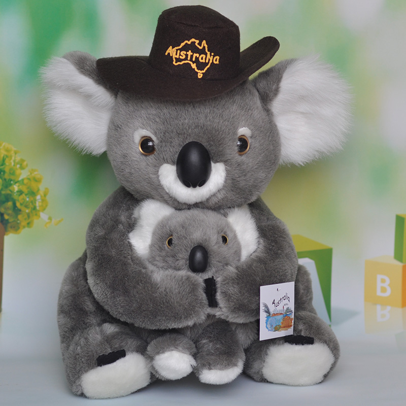 Nouveau jouet environ 38 cm koala avec chapeau en peluche jouet câlin bébé koala poupée douce enfant jouet cadeau d'anniversaire h2398