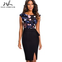 Nice Forever Vintage Embroidery Floral Mesh Wear To Work Ruffle Vestidos Bodycon Office Business Sheath Women