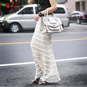 Image 2 - TIYIHAILEY, бесплатная доставка, 2020 S 10XL, кружевная длинная юбка макси, женская летняя формальная прямая юбка размера плюс, черно белая, сексуальная