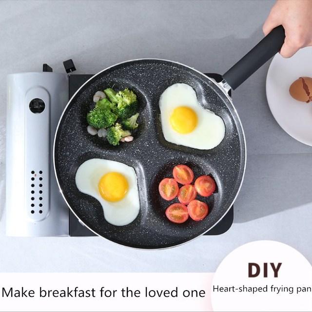28CM Love Four Hole Omelette Pot Non-stick Pan Rice Bowl Fried Pan Fry Cake Frying Pan Multi-function Pot