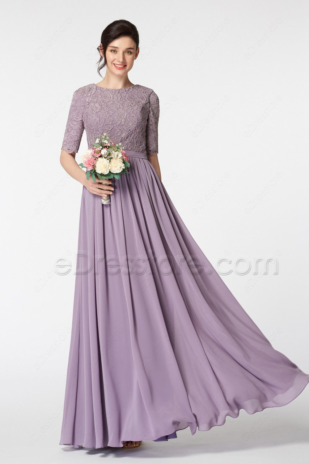 Buy 2017 long modest bridesmaid dresses for Modest wedding dresses with long sleeves