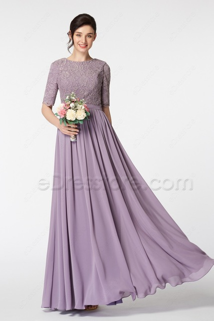 2017 Long Modest Bridesmaid Dresses With Half Sleeves