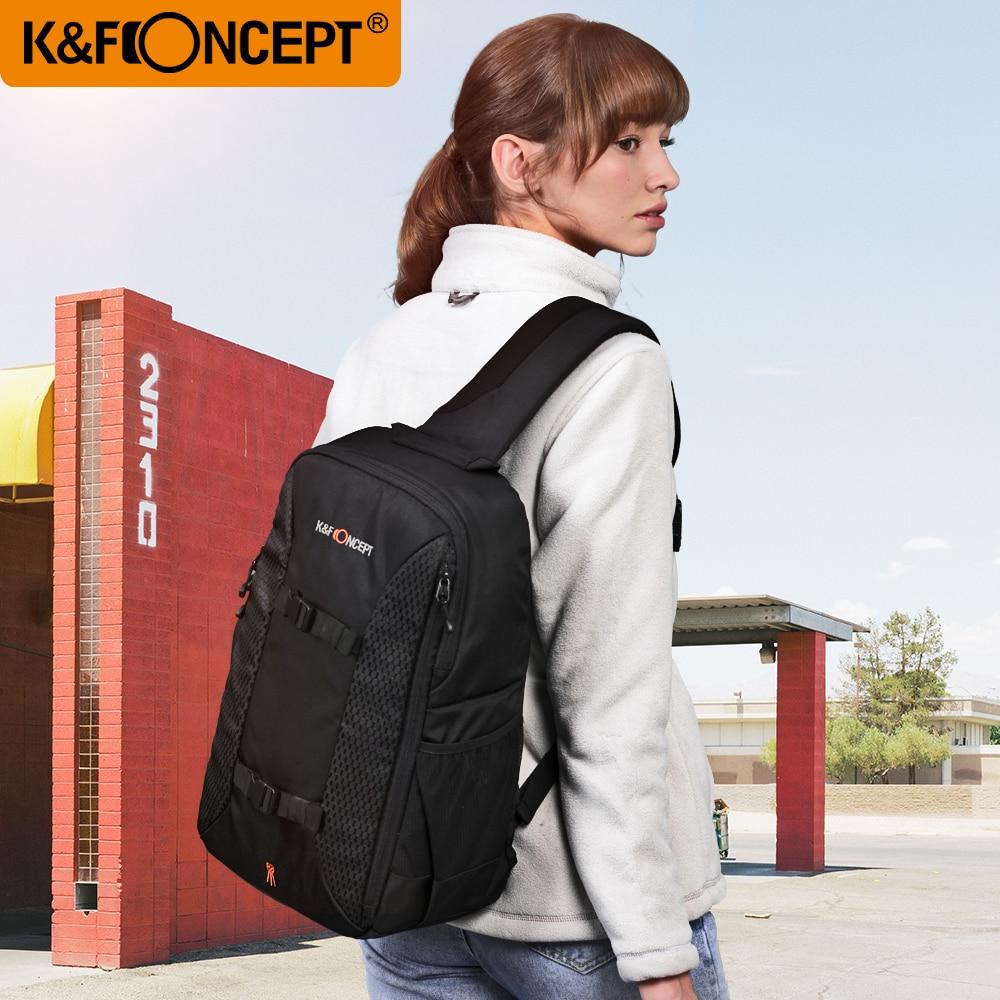 K & f conceito multifuncional dslr câmera mochila estilo casual sling messenger bolsa de viagem para tripé ipad + capa chuva