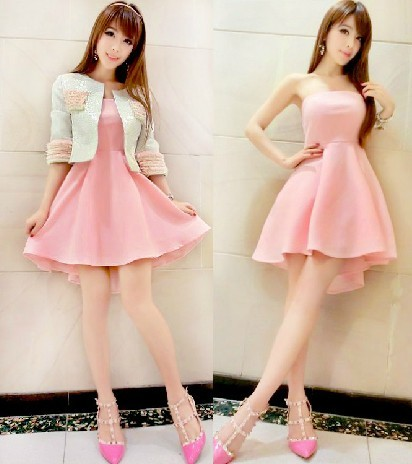 a56e0b8a0c806 Jacket short tube top dress Half sleeve knee-length one-piece dress small  set 2014 spring fashion vintage dress color pink