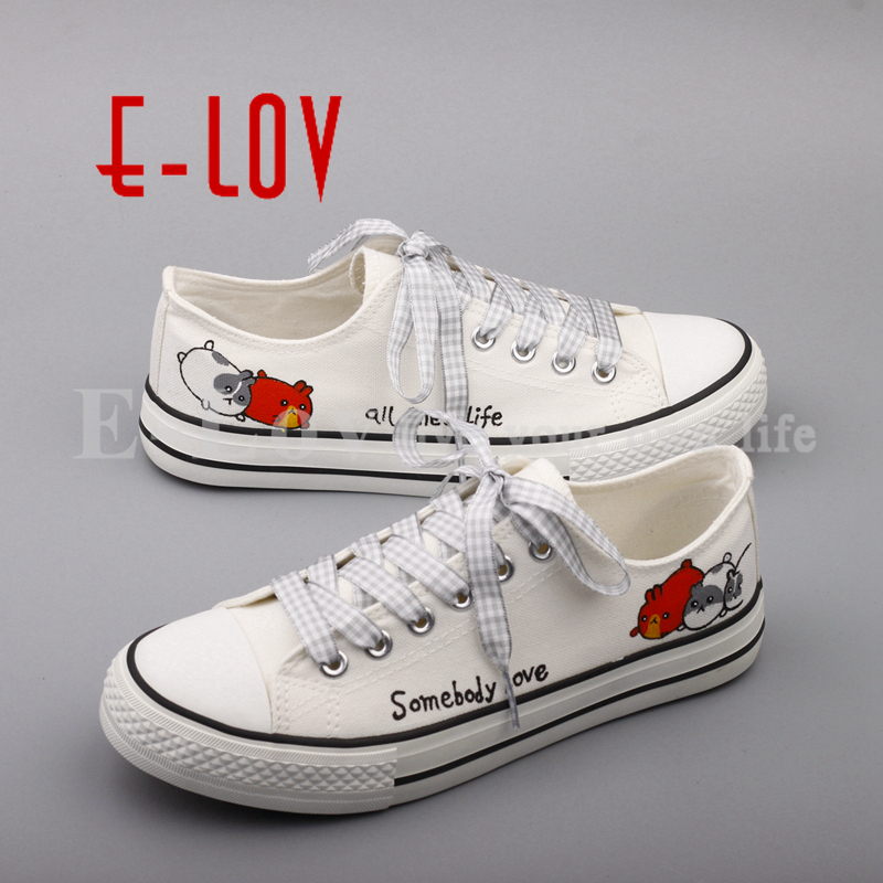 E-LOV Hot Selling Cartoon Animals Hand Painted Casual Flats Cute Women Girls Canvas Shoes Plus Size sapato feminino 2016 new cartoon anime figure despicable me 2 minion shoes couples hand painted canvas shoes women men casual shoes big size 10