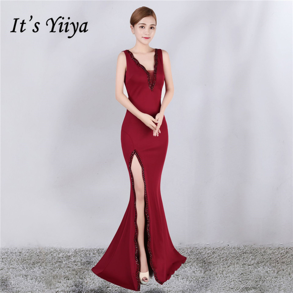 It's Yiiya   evening     dress   Sexy V-neck zipper back long party Gowns Elegant Crystal sleeveless trumpet formal Prom   dresses   C208