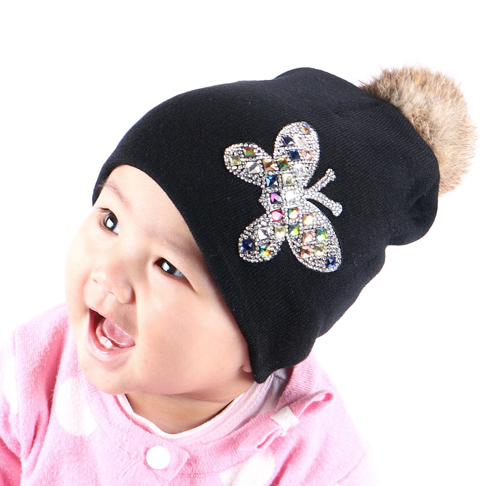 0-2 year old baby beauty beanie 100% cotton warmer winter hats for girl boys genuine rabbit pompom kids skullies brand gorros