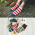 5pairs/lot women's cotton socks colorful striped patchwork socks two way wear hot sell(ztw344)