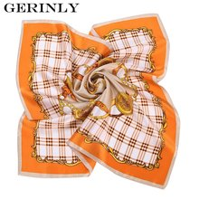 GERINLY Silk Scarf Women Brand New Stripes and Checks Neckerchief Bandana Square Satin Scarves Shawl Hijab 55CMx55CM