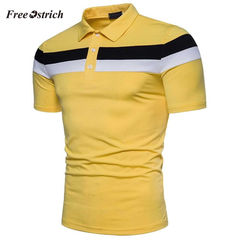Free Ostrich Men's Stitching Polo Shirt Short Sleeve Slim Shirts Breathable Blouse Fresh Color Polo For Business Men Hot Sales