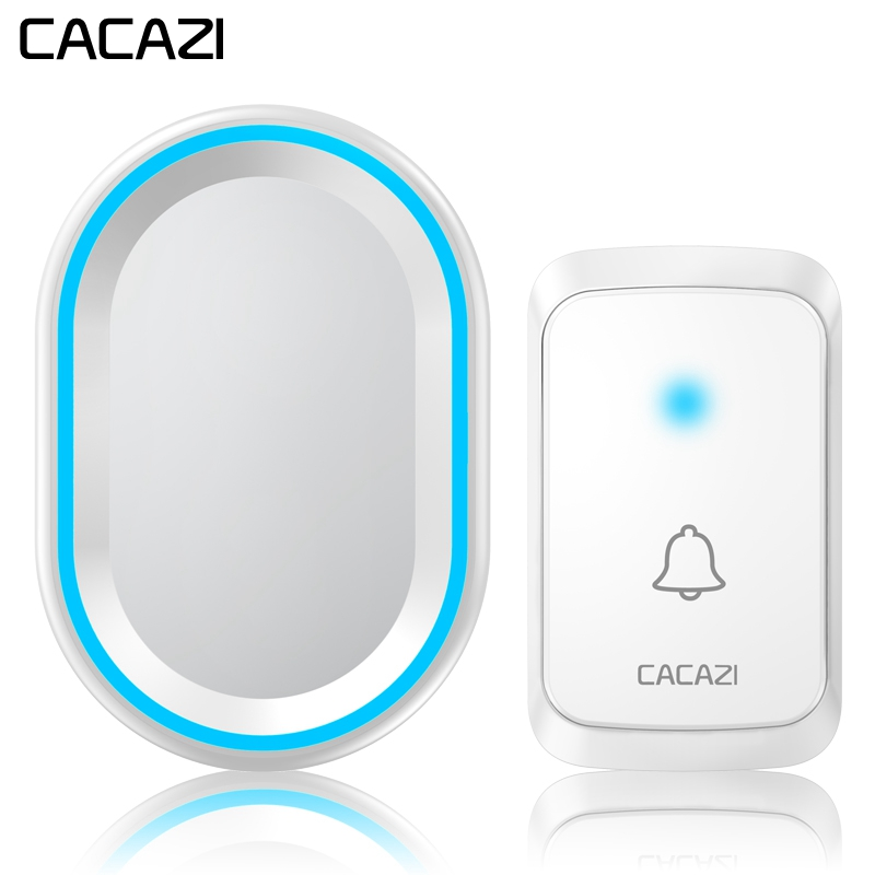 CACAZI Home Wireless Intelligent Doorbell LED Night light 300M Remote Waterproof bell 58 Chimes US EU Plug 1 Button 1 2 ReceiverCACAZI Home Wireless Intelligent Doorbell LED Night light 300M Remote Waterproof bell 58 Chimes US EU Plug 1 Button 1 2 Receiver