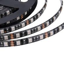 Tira de led, 5050 preto/branco pcb dc12v flexível 60 led/m 5 m/lote rgb 5050 led strip.5m/lote