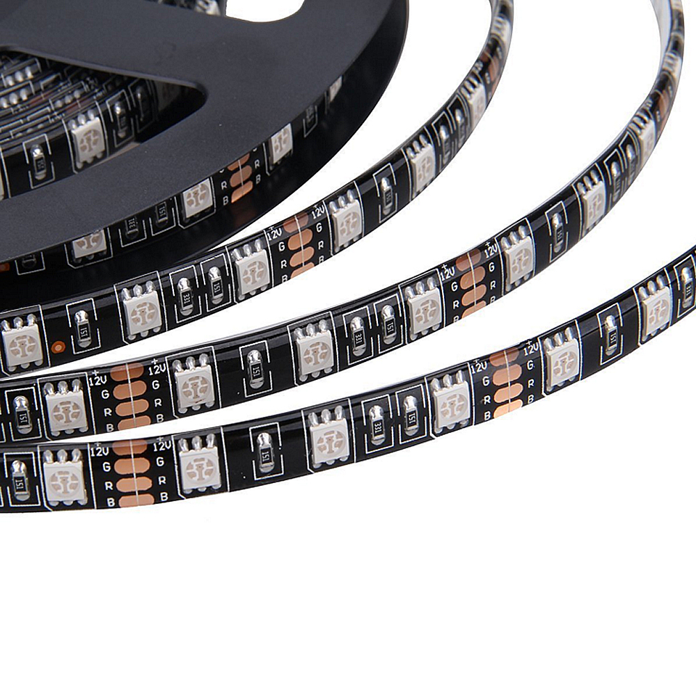 Tira CONDUZIDA 5050 Preto/Branco PCB DC12V 60 Flexível do DIODO EMISSOR de Luz LED/m 5 m/lote RGB 5050 LED strip.5m/lot