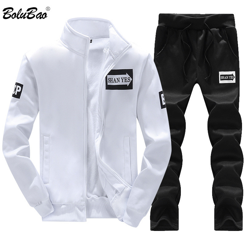BOLUBAO Fashion Brand Men's Tracksuits Autumn Winter Men Set Zipper Hooded Long Sleeve Sweatshirt+Pants 2 Piece Sportswear Set