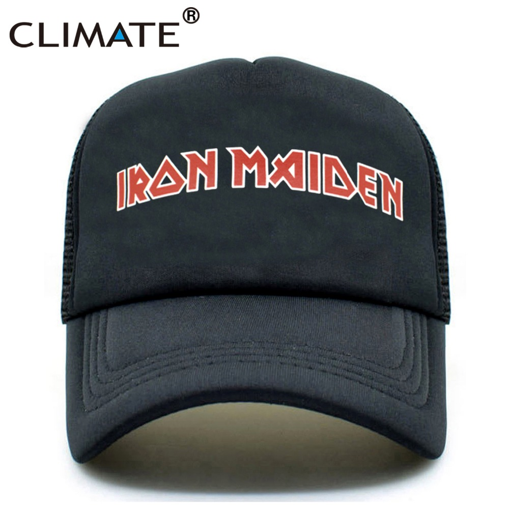 CLIMATE Men Women Black Trucker Cap Iron Maiden Death Heavy Metal Punk Rock Summer Cool Baseball Mesh Net Trucker Caps Hat brand new ssd hdd 2 5 to 3 5 mounting metal bracket for desktop pc case tray kit with screws free shipping