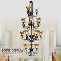 Classic Black Iron Chandelier Duplex stair lamp Hotel restaurant dining Engineering Chandelier rustic ceiling lamp led light