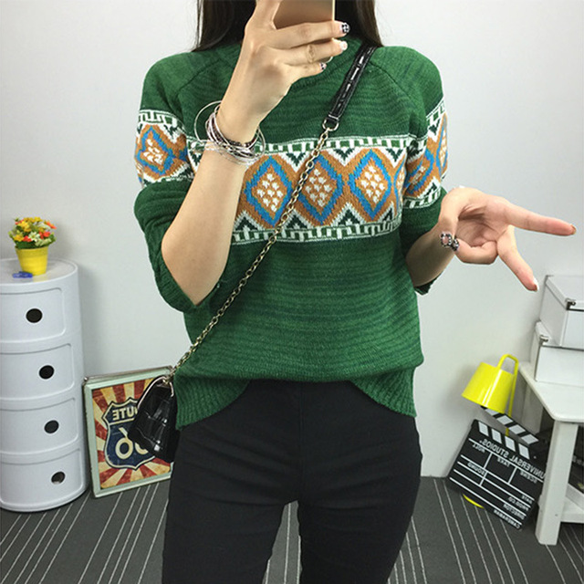 2016 New Winter Women Fashion Knitted Cotton Sweaters and Pullovers Female Top Quality Slim Pullover Green Vintage One Size