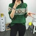 2016 Novas Mulheres Inverno Moda Malha Suéteres e Pulôveres de Algodão Feminino Top Quality Magro Pulôver Verde Vintage One Size