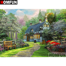 HOMFUN Full Diamond Embroidery Diy 5D Diamond Painting Cross Stitch House scenery Full Drill Home Room Decor A08408 full house