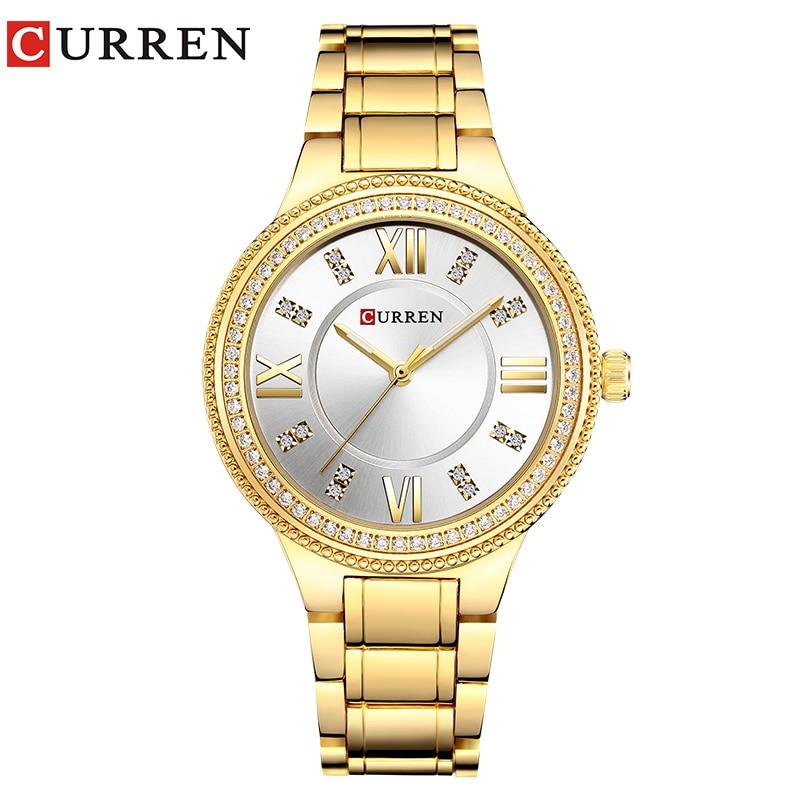 CURREN 9004 Top Luxury Brand Women Quartz Watch Crystal Design Rhinestone Ladies Simple clock Gift wristwatches relogio feminino curren 9024 watch women casual fashion quartz wristwatches creative design ladies gift relogio feminino