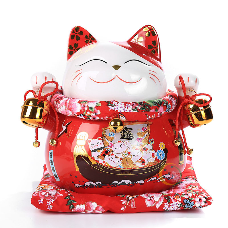10 inch Ceramic Maneki Neko Fortune Cat Home Decoration Porcelain Ornaments Cute Lucky Cat Money Box