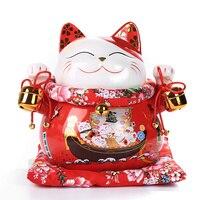 10 Inch Ceramic Maneki Neko Fortune Cat Home Decoration Porcelain Ornaments Cute Lucky Cat Money Box