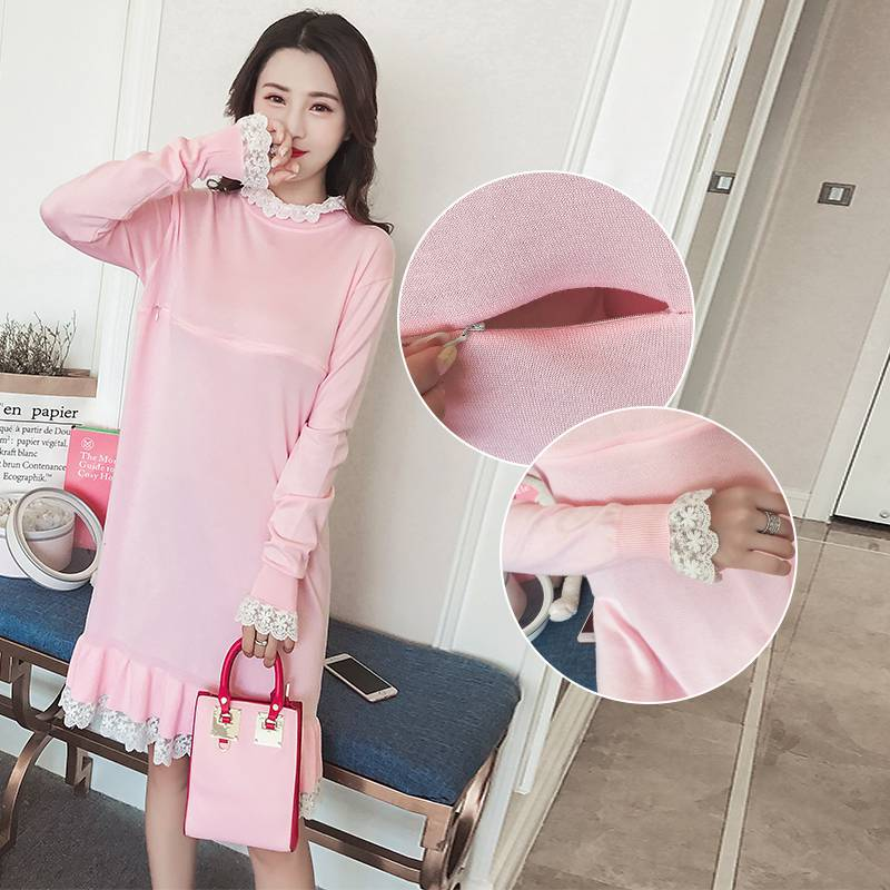 2018 autumn and winter new breastfeeding sweater lace long long sleeve knit feeding dress eyelet lace up open back texture knit sweater