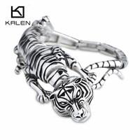 Kalen 힙합 보석 고품질의 스테인레스 스틸 동물 호랑이 매력 팔찌 펑크 자전거 랩 팔찌 액세서리 선물