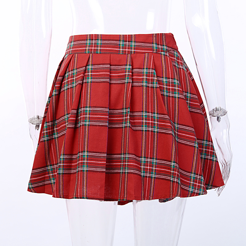 HTB1MZScelCw3KVjSZR0q6zcUpXaC - Gothic Punk Skirts Women Red Plaid Pleated Ball Gown High Waist Patchwork Mini Skirt Fashion Streetwear Buckle Female Goth Skirt