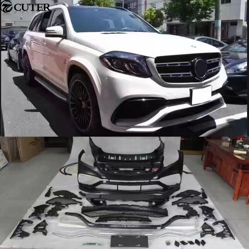 X166 GLS400 GLS63 AMG style Car body kit PP Unpainted front Rear bumper for Mercedes Benz X166 GLS500 GLS63 AMG body kit in Body Kits from Automobiles Motorcycles