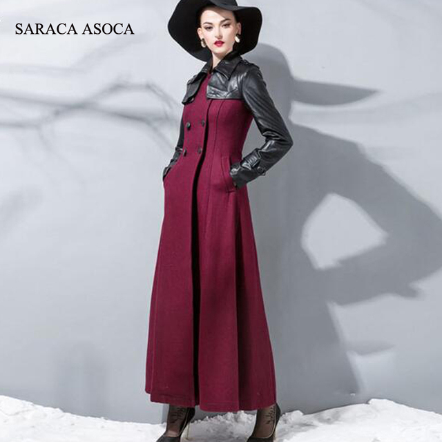 New Style Fashion Long Winter Coat Women's PU Patchwork Slim Double Breasted Jackets Ladies