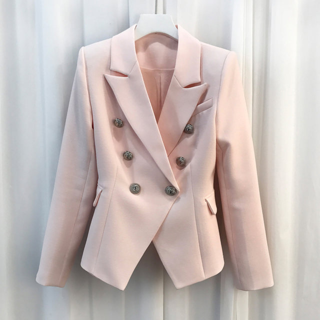HIGH QUALITY New Fashion 2020 Baroque Designer Blazer Jacket Womens Silver Lion Buttons Double Breasted Blazer Outerwear