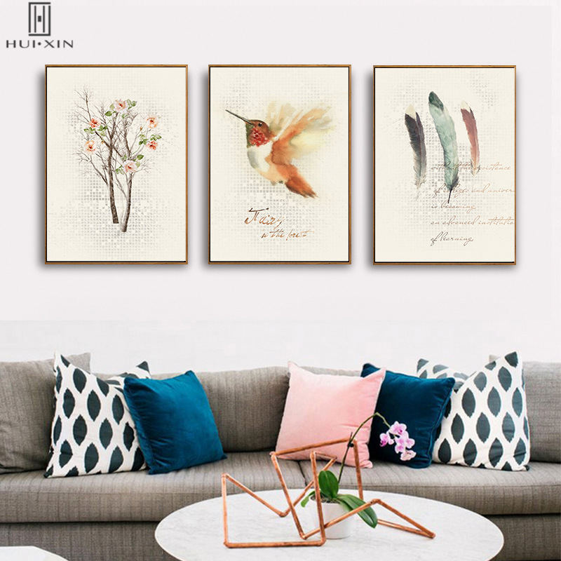Canvas Materials Modern Birds Paintins With Abstrct Shades Light Feathers Tree Decorative Pictures For Home Hotel Decoration