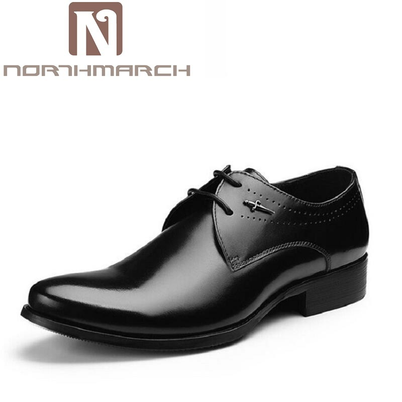 NORTHMARCH Men Dress Shoes Soft Round Toe Classic Business Oxford Shoes For Men Sapato Social Masculino New Brand Leather Shoes men party shoes oxfords 2015 hot men s genuine leather shoes brand sapato masculino couro social round toe palladium shoes 38 46
