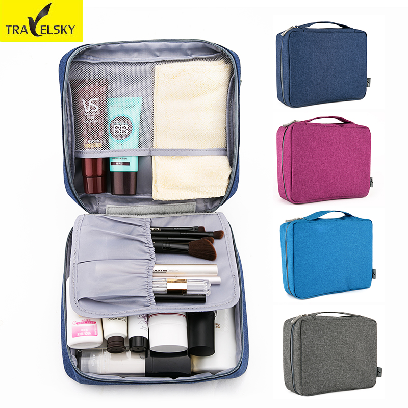 Travelsky 2017 New Arrival Fashion Woman Travel Cosmetic Bag Portable 1pcs Makeup Bag Travel Storage Toilet Bags Free Shipping 1pcs urinal gogirl go girl woman urination device 9 5cm stand up pee fud camping travel portable female tiolet