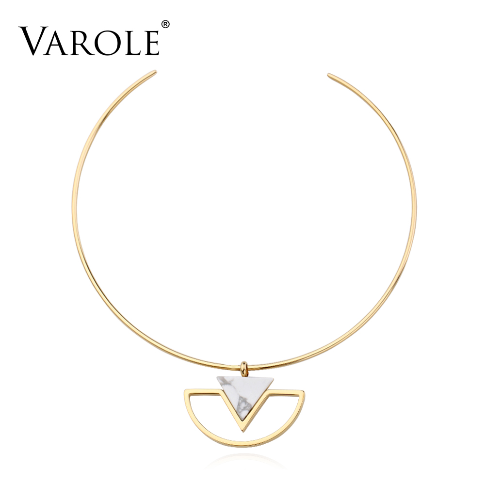 VAROLE Simple Style Stainless Steel Choker Necklace Pendants for Women suspensions collares Pendants Jewelry