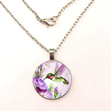 fashion New animal Hummingbird Necklace Hummingbird Pendant Glass Bird Jewelry Art Glass Cabochon Necklace(China)