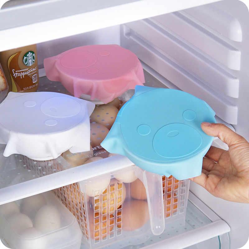 Práctico Cute Multi-funcional de silicona reutilizable refrigerador de alimentos cubierta de almacenamiento Saran Wrap Cling Film utensilios de cocina 5ZCF319