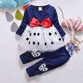 O ENVIO GRATUITO de bebê conjunto de pano conjunto de pano de algodão para as crianças do bebê da menina vestido de manga longa calças 2 pcs pano conjunto