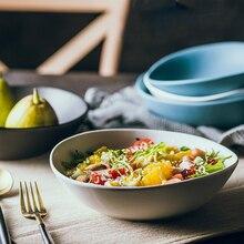 MUZITY Ceramic Bowl Bevel Connection Irregularity Design Porcelain Salad Bowls Solid Rice Soup Dinner Bowl