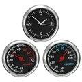 2016 Novo 3 Pçs/set Car Styling 4 CM Preto Fresco Quartz Relógio Higrômetro Termômetro de Temperatura Tempo de Medição de Umidade do Ar