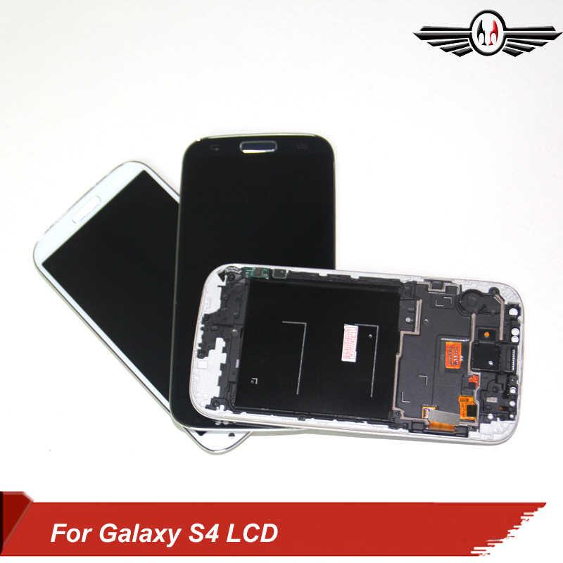 بابا الصين LCD تعمل باللمس قطع غيار سامسونج S4 i9500 i9505 عرض مع محول الأرقام الجمعية الإطار