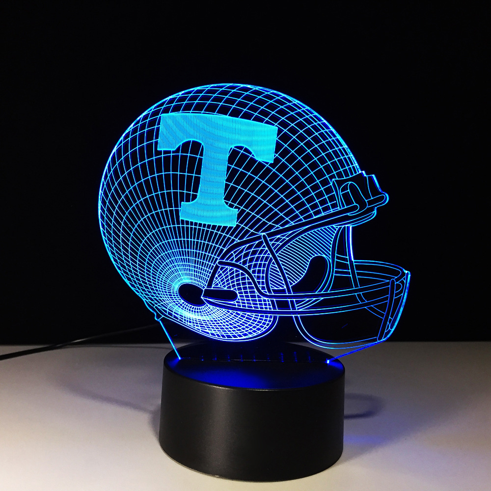 3D Football Helmet Nightlights LED 7 Color Change Rugby Cap Table Lamp Household Sleep Lighting For Child Gifts Boy Room Decor